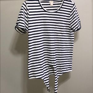 J.Crew Blue and white striped Tie Short sleeve